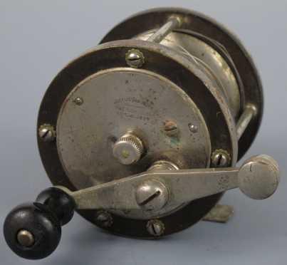 "19th century ""Julius Vom Hofe"" German Silver and Gutta Percha Fishing Reel."