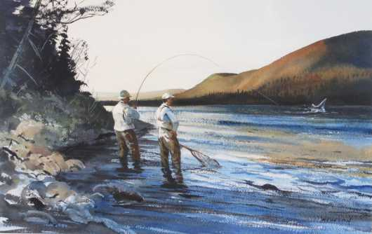 "Watercolor ""Salmon Fishing"" by Chet Reneson"