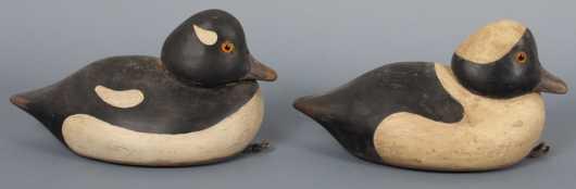 Pair of vintage decoys attributed to Jim Van Brunt