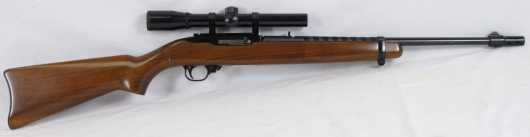 """Ruger 10/22 carbine with an 18"""" barrel in .22 long rifle"""