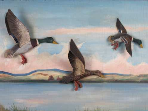 Three carved and painted mallards in flight set on panel depicting a pond with mountains