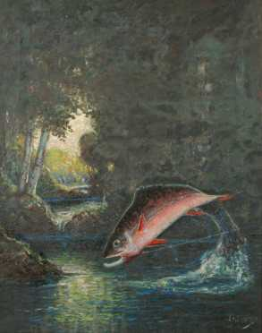 """William Curry oil on canvas painting    """"Square Tail Trout Taking The fly"""""""