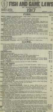 Original 1917  Massachusetts Fish And Game Cloth Poster