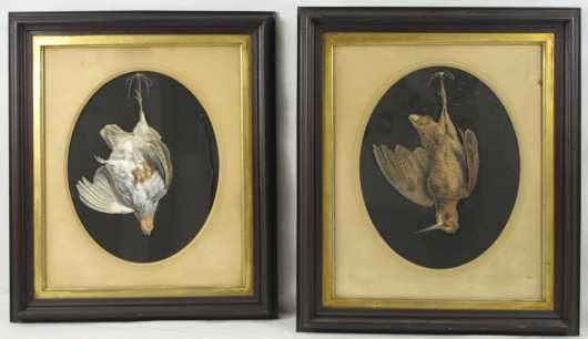 Antique pair of faux Hanging Game Birds