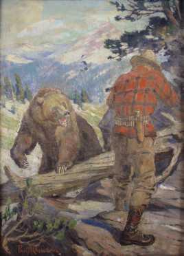 "Philip Russell Goodwin original oil  ""The Killing of the Killer"""