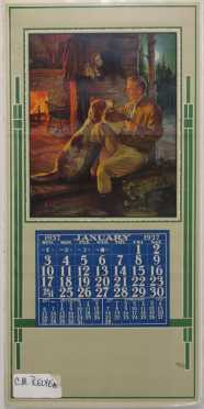 Vintage Calendar with a C.M Relyea Print