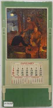 Vintage Calendar with C.M Relyea Print