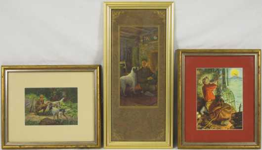 Three vintage prints matted and framed of sporting scenes