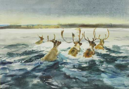 Francis Golden Watercolor on canvas of Caribou