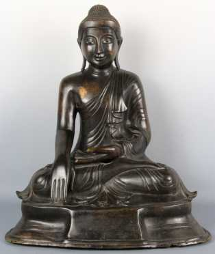 Large Chinese Bronze Buddha with inlaid eyes