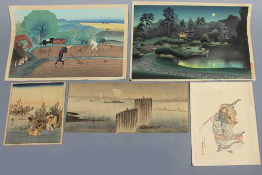 Group of Five Japanese Wood Block Prints