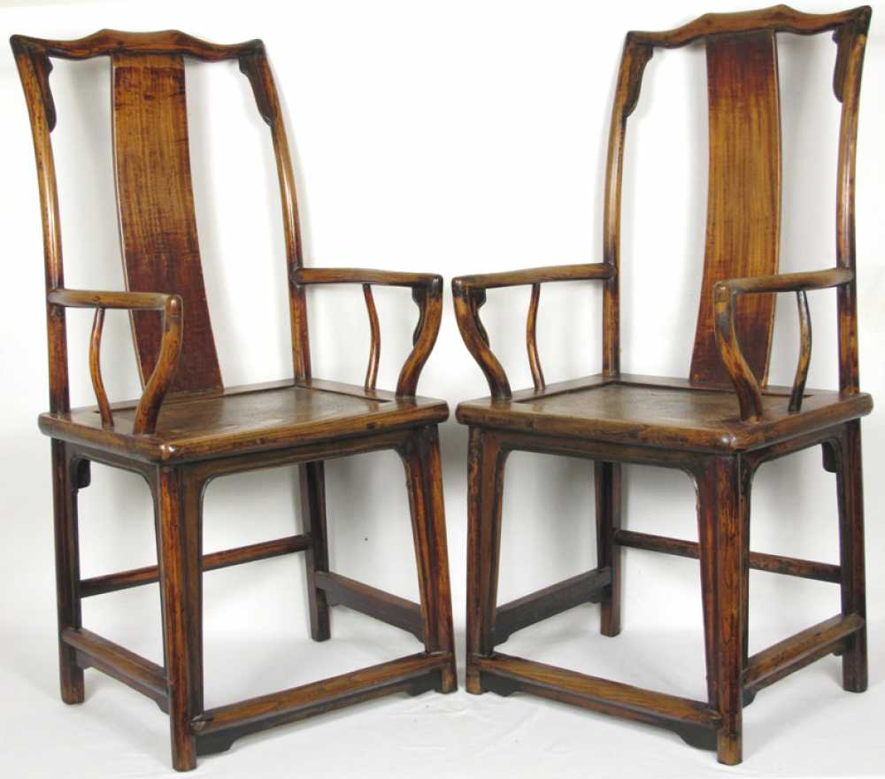& Pair of Chinese Yoke Back Arm Chairs