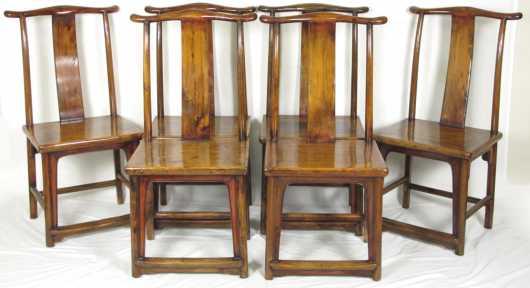 Set of Six Chinese Hualimu Side Chairs