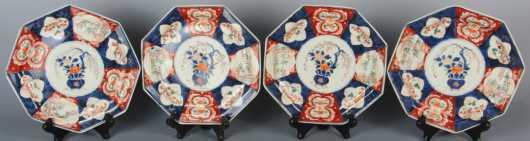 Set of Four Matching Imari Octagonal Plates, Meiji Period