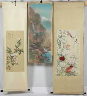 Two Chinese Scrolls along with a Hand painted Textile