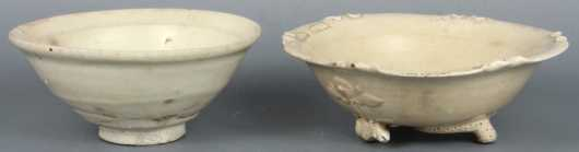 Two Piece Lot of Chinese White Glazed Pottery