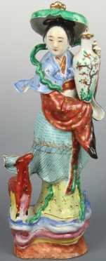 Chinese Porcelain Statue of a Woman with a Deer