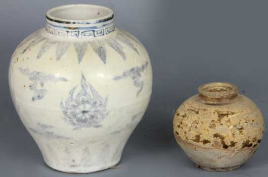 Chinese Blue and White Vase and a Tang Dynasty jar