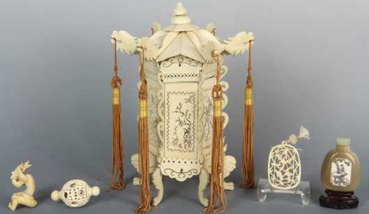 Lot of Four Chinese Ivory Items and a Snuff Bottle