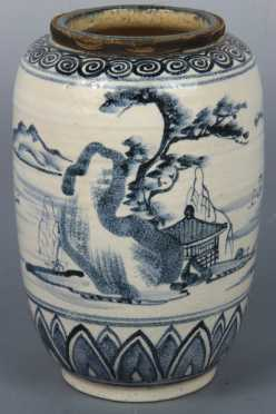 Chinese Under Glaze Blue Pottery Vase