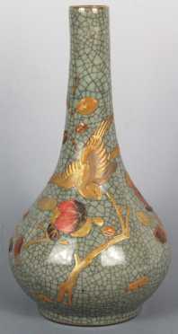 Chinese Bottle Vase with crazed glazing