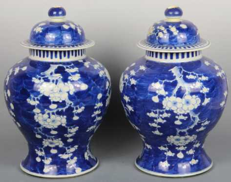Pair of Chinese Blue and White Covered Prunus Jars