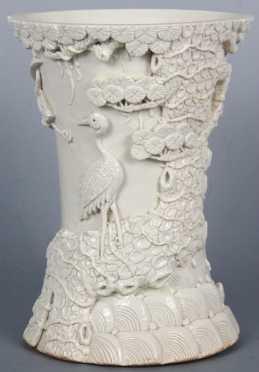 White Glazed Chinese Brush Pot
