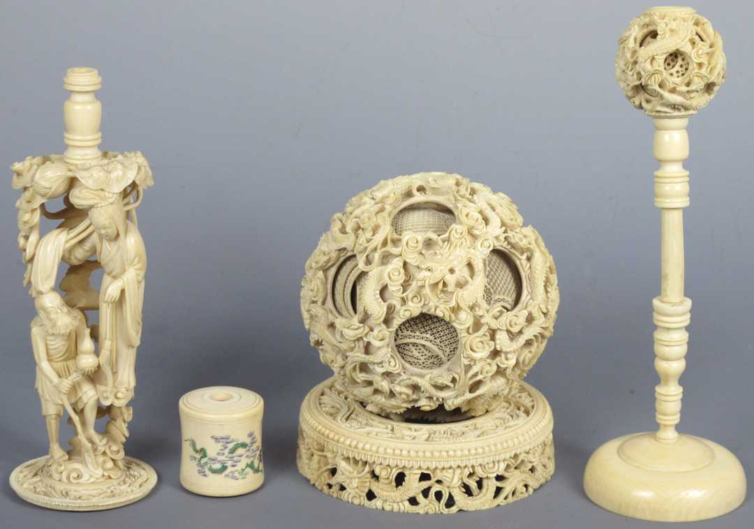 Elaborate Signed Chinese Ivory Puzzle Ball With Stand And Custom Storage Box