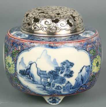 Japanese Blue and White Koro Porcelain Jar