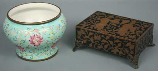 Two Chinese Enamel Items