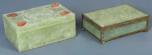 Lot of Two Chinese Jadeite Jewelry Boxes