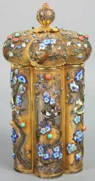 Chinese Silver and Enamel Covered Canister