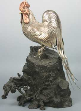 Japanese Silver Rooster on a Bronze Base