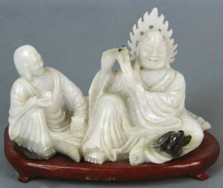 Chinese Carved White Jadeite Group
