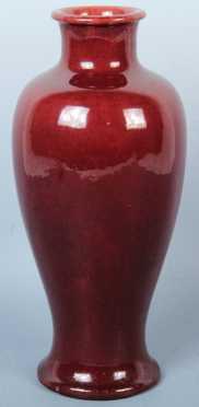 Chinese Baluster Form Vase, oxblood glaze