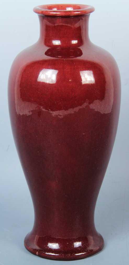 Chinese Baluster Form Vase Oxblood Glaze