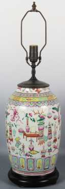 Chinese Polychrome Barrel Form Vase