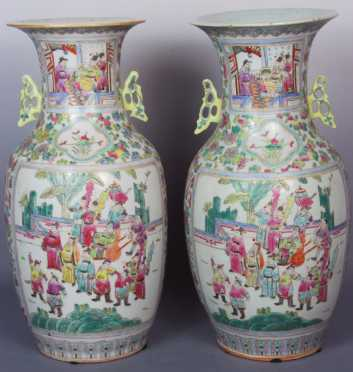 Pair of Chinese Polychrome Baluster Form Vases