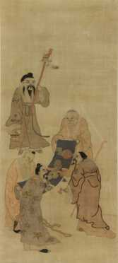 Chinese Silk Panel of 5 scholars examining a scroll