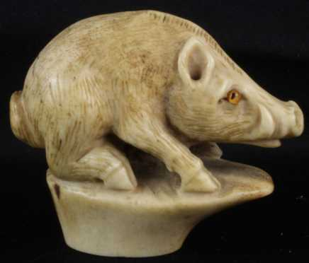 Carved Bone Cane Handle  in the form of a boar