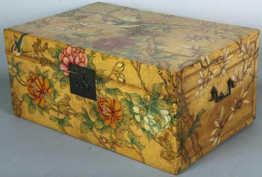 Chinese Polychrome Skin Covered Storage Box