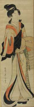 Japanese Watercolor on paper of a Standing Beauty
