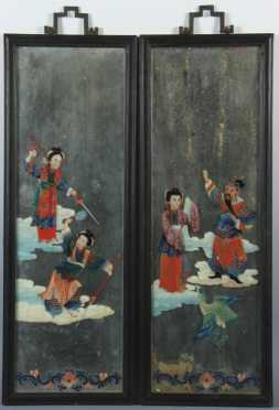 Pair of Chinese Reverse Paintings on Glass