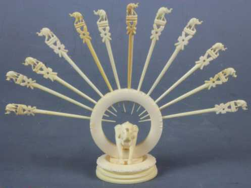 Carved Ivory Elephant Hors d'oeuvres Set