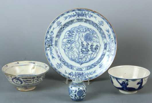 Lot of Four Chinese and Japanese Blue and White Porcelains