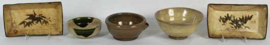 Lot of Five Pieces of Japanese Pottery