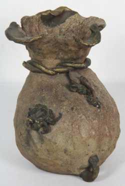 Japanese Pottery Bag Form Vase