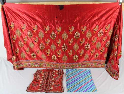 Lot of Three Pieces of Oriental Needle Work Fabrics