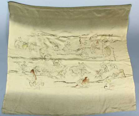Chinese Silk Panel, painted with satirical figures of rabbits, frogs etc