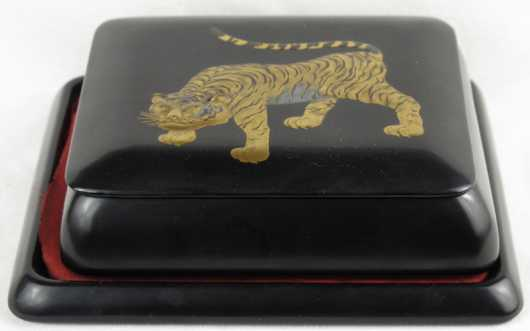 Japanese Black Lacquer Box on Tray